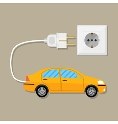 Electric Vehicle car with plug vector image