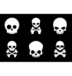 Skull and crossbones icons in cartoon style vector