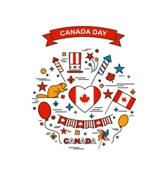 Happy canada day elements set vector