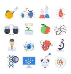 Biotechnology colored icon set vector