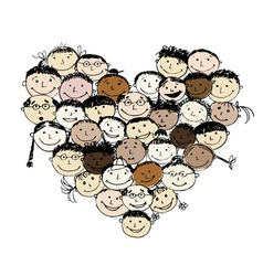 Happy peoples heart shape for your design vector image