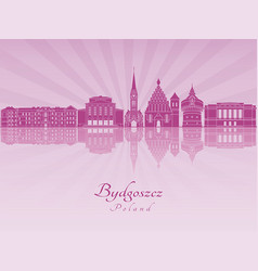 Bydgoszcz skyline in purple radiant orchid vector
