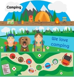 Camping banner people with dog vector