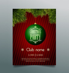 Christmas party flyer template - green bauble vector