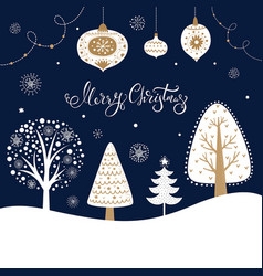 christmas with trees vector image vector image