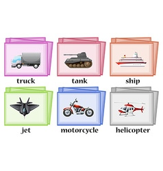 Different transportation on wordcards vector image vector image