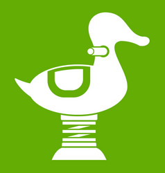 Duck spring see saw icon green vector