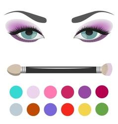 Eyeshadow palette eye makeup vector