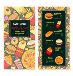 Fast food menu for cafe or restaurant vector