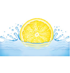 Fresh lemon slice falling to water vector