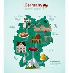 Germany travel flat map infographic concept vector