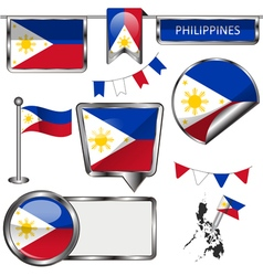Glossy icons with philippine flag vector