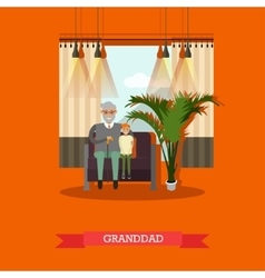 granddad with his grandson vector image vector image