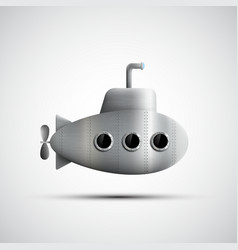 Gray metal submarine with portholes vector