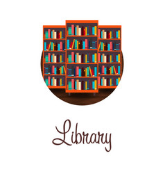 library bookcase books and knowledge vector image