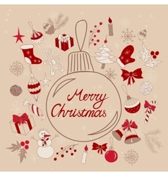 Merry Christmas greetings in ball vector image vector image