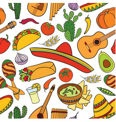 mexican food and musical instruments seamless vector image