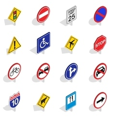 Road Sign icons set isometric 3d style vector image vector image