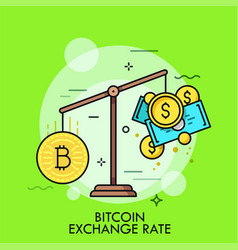 Scales with bitcoin and dollar coins vector