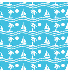 Seamless pattern with palmtrees and boats ongoing vector