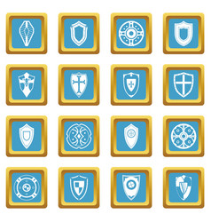 shields set icons azure vector image vector image