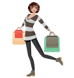 Shopping Girl with Bags3 vector image vector image
