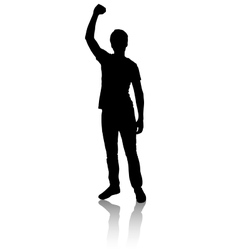 Silhouette of a man who raised his hand to vector image
