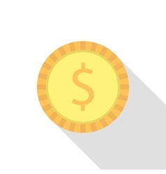 Simple dollar coin with long shadow vector