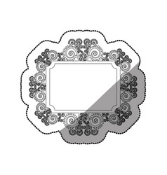 Sticker monochrome rectangle vintage baroque frame vector