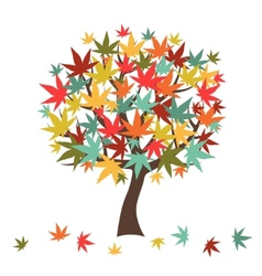 Stylized autumn tree with falling leaves for vector image