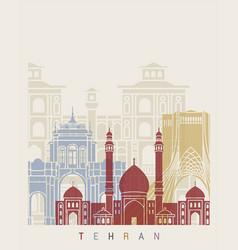 tehran skyline poster vector image vector image