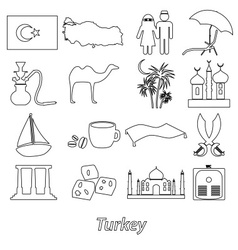 turkey country theme symbols outline icons set vector image vector image