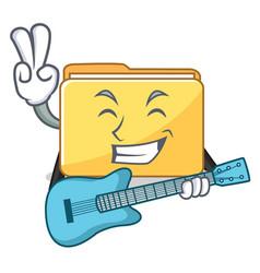 With guitar folder character cartoon style vector