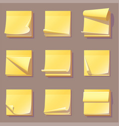 Yellow office sticky memory notes vector