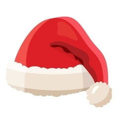 Red santa claus hat icon cartoon style vector