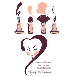 beauty and cosmetic collection vector image