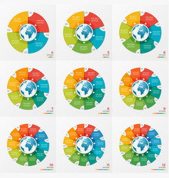 Set of circle chart infographic designs with globe vector