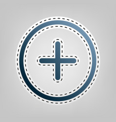 positive symbol plus sign  blue icon with vector image