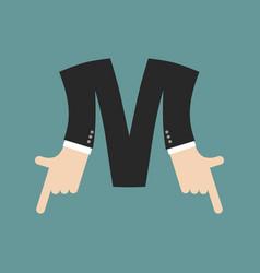 M letter businessman hand font it shows finger vector
