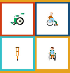 Flat icon cripple set of stand handicapped man vector