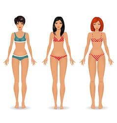 Collection female body template front vector