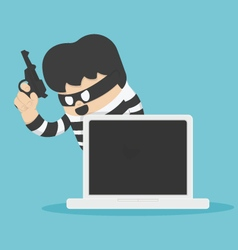 Thief with computer vector