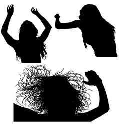 Girl silhouette set vector
