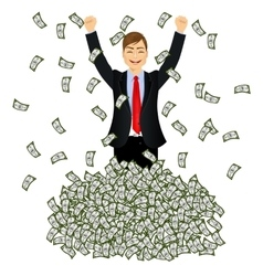 Happy rich successful businessman vector