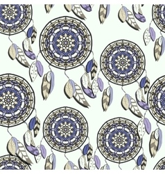 Seamless pattern with hand drawn dreamcatchers vector