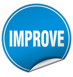 Improve round blue sticker isolated on white vector