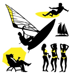 Several persons are on the beach in a summertim vector