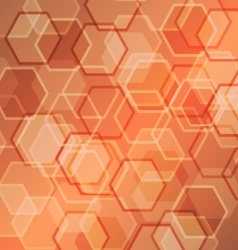 Abstract orange gradient background with hexagon vector