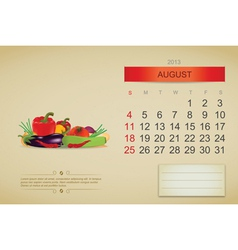 August 2013 calenda vector image