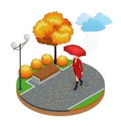 Beautiful girl with umbrella at autumn park vector